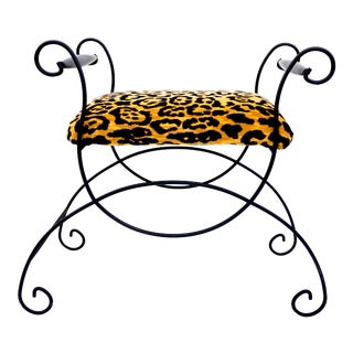 Mid-Century Hollywood Regency Leopard Velvet Empire Style Vanity Bench