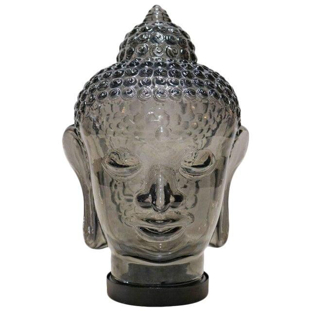 Smoked Glass Buddha Head Sculpture - Image 1 of 7