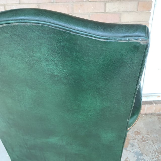 Vintage Green Leather Office Chair For Image 9 Of 11
