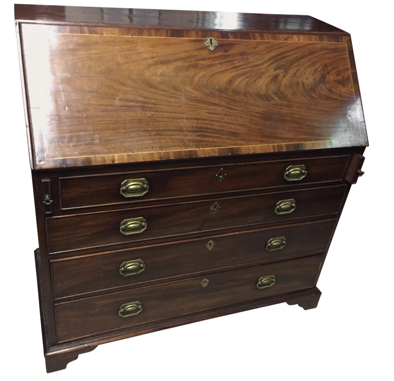 bureau english 19th Century English Bureau Desk With Inlay For Sale