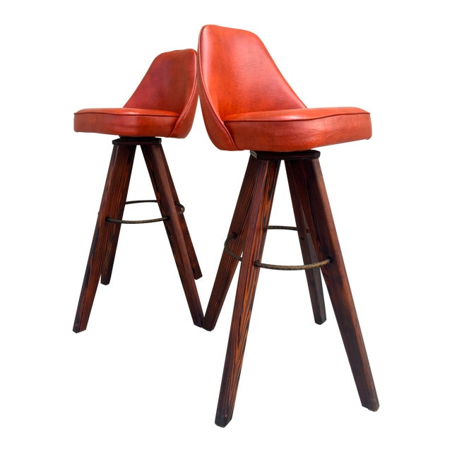 Mid-Century Modern Barstools in Orange - A Pair - Image 1 of 11