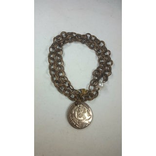 Coin Necklace/ Bracelet With Fresh Waster Pearl on Brass Preview