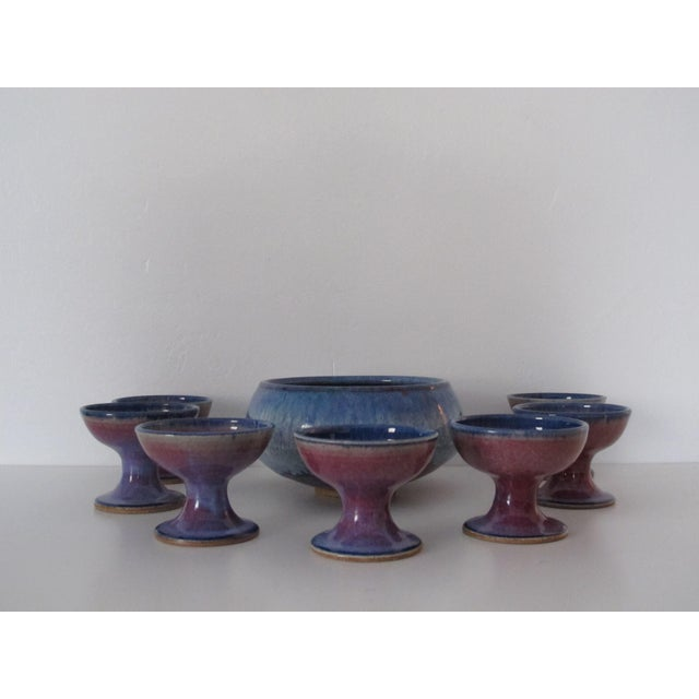 Studio Ceramic Punch Bowl Set - Set of 8 - Image 4 of 9
