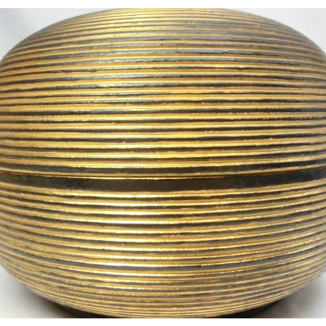 Japanese Ceramic Gilded Gold Black Lidded Container Dome Shape Art Deco Style Box Asian For Sale In Los Angeles - Image 6 of 12