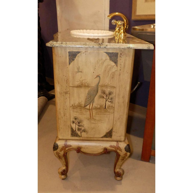 2000 - 2009 Chinoiserie Paint Decorated Sink Vanity For Sale - Image 5 of 13
