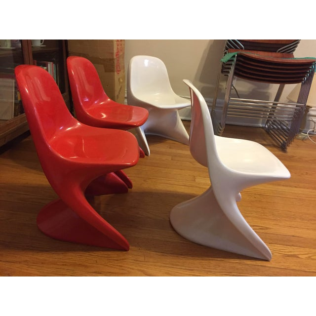 Children's 1970s Modern Casalino Red & White Children's Chairs - Set of 4 For Sale - Image 3 of 3