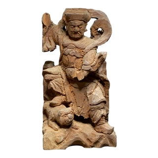 19th Century Temple Hand Carved Wood Immortal Statue For Sale