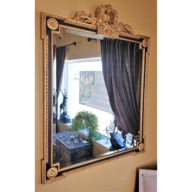 Louis XVI Louis XVI Style Giltwood & Ebony Beveled Glass Mirror For Sale - Image 3 of 8