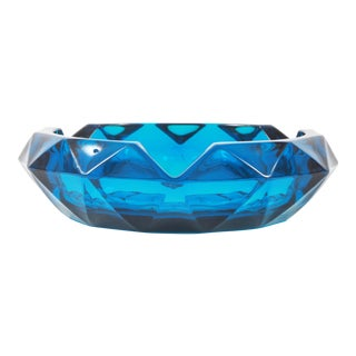 Vintage Viking Art Glass Mid Century Modern Blue Geometric Ashtray For Sale
