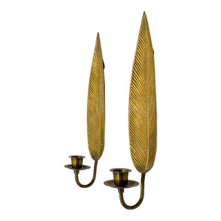 20th Century Hollywood Regency Brass Leaf Candle Wall Sconces- a Pair For Sale