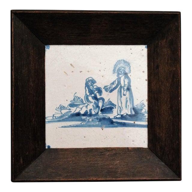 17th-C Dutch Delft Biblical Tile For Sale