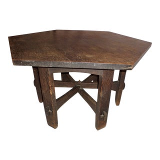 "1902-1903 Antique Gustav Stickley Arts and Craft Hexagonal 55"" Oak Library Table For Sale"