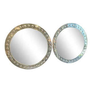 Large Round Mid-Century Venetian Mirrors - A Pair For Sale