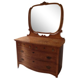 Birds Eye Maple Dresser Chest with Mirror For Sale