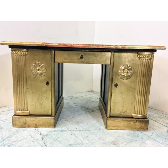French Neo-Classical Style Gold Leaf Desk - Image 5 of 10