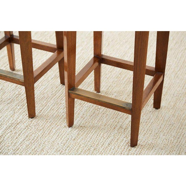 Pair of Dessin Fournir Leather Mahogany Bar Stools For Sale - Image 12 of 13