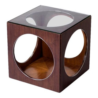 Scarborough House Glass Top Cube Side Table For Sale