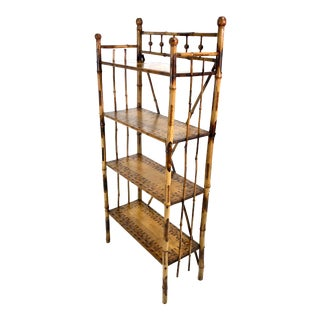 Antique Victorian Scorched Bamboo Bookcase / Etagere For Sale