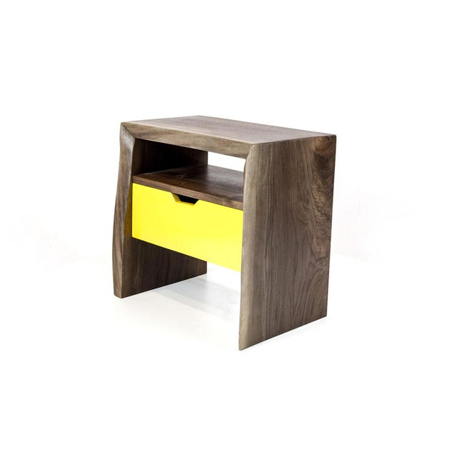 Live Edge Nightstand with Yellow Drawer - Image 2 of 8