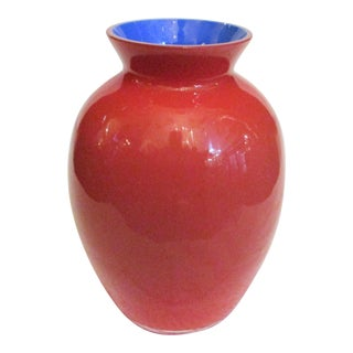 Carlos Moretti Red and Blue Glass Vase For Sale
