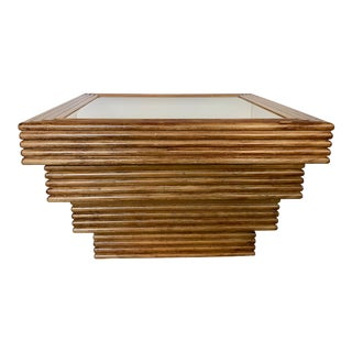 1970's Square Bamboo Coffee Table With Mirror Top For Sale