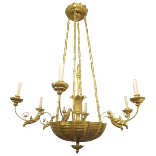 Custom Giltwood Hand-Carved Chandelier in the Neoclassic Manner For Sale