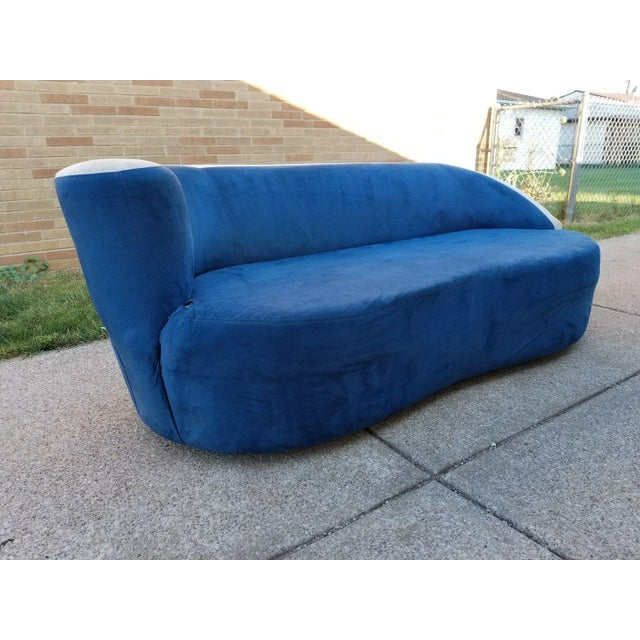 Vladimir Kagan for Directional Nautilus Sofa in Blue Velvet - Image 9 of 11