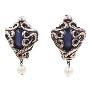 1950s Napier Silvertone Blue Moonglow & Faux-Pearl Earrings For Sale