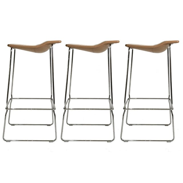 "Contemporary Set of Three ""Last Minute"" Stitched Leather & Steel Bar Stools, Patricia Urquiola For Sale - Image 3 of 6"