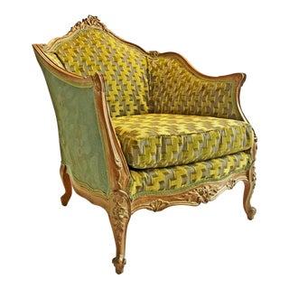 Chartreuse Velvet Upholstered Bergere Chair
