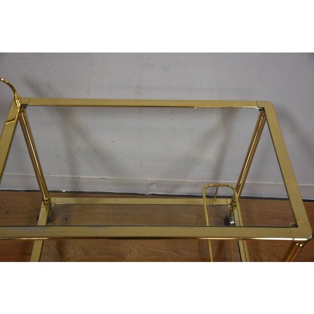 Hollywood Regency Brass Bar Cart - Image 6 of 11