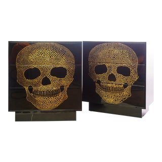 21st C. Parchment and Inlaid Wood Skull Commodes For Sale