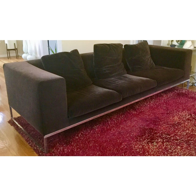 Antonio Citterio for BB Italia Tight Sofa. Purchased in 2005. Soft slip covered chocolate velvet cushions. Extra long at...