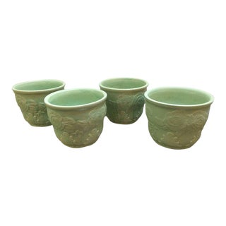 Roseville Celadon Green Cachepots - Set of 4 For Sale