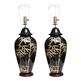 Pair of Vintage Black Glass Lamps with Bamboo Design For Sale