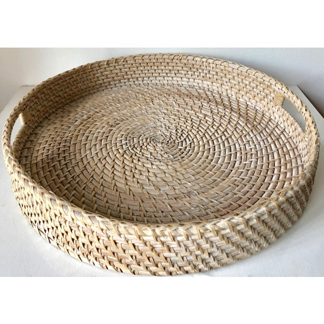 "Boho Chic Artifacts Rattan 18""Round Tray For Sale - Image 3 of 10"