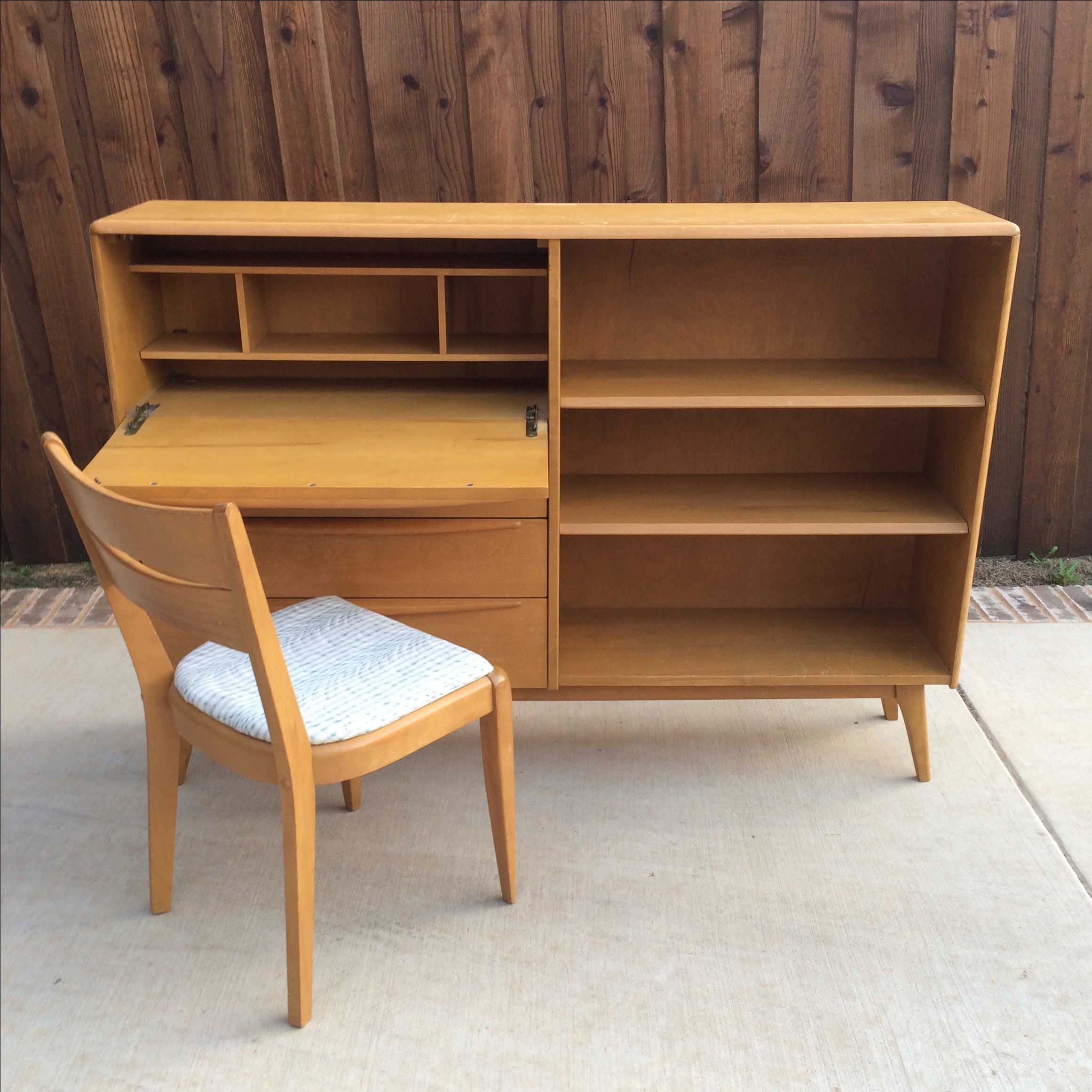 Heywood Wakefield Drop Down Desk And Bookshelf With Chair   Image 2 Of 11