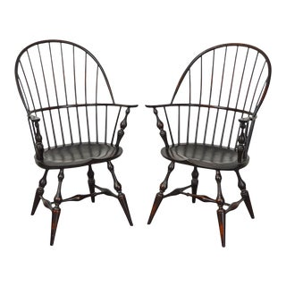 DR Dimes Bow Back Painted Windsor Arm Chairs - a Pair
