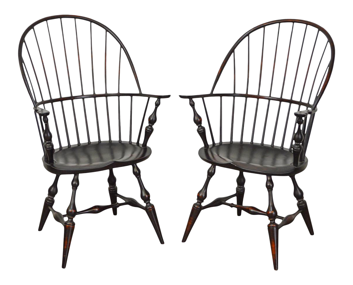 Dr Dimes Bow Back Painted Windsor Arm Chairs A Pair Chairish