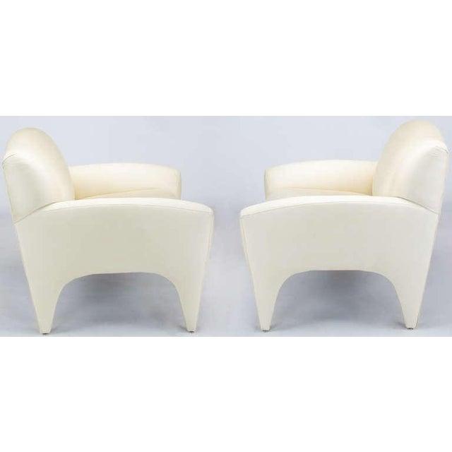 Pair Vladimir Kagan Lounge Chairs In Ivory Silk - Image 3 of 9