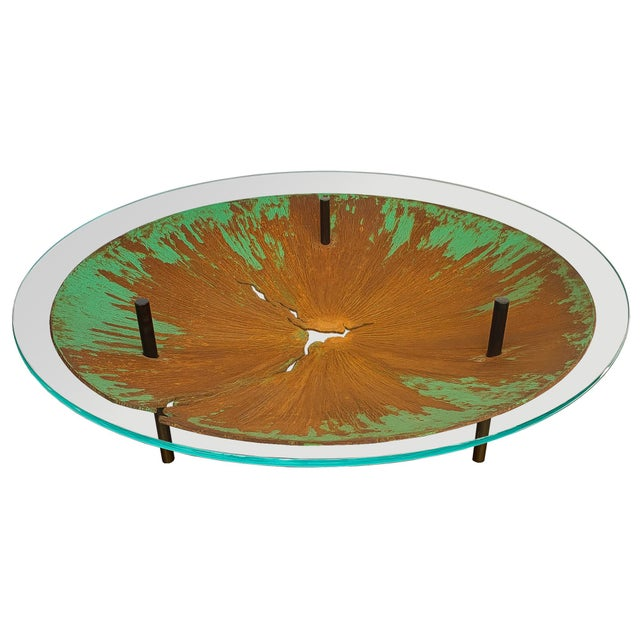 """Industrial David Orth Patinated Steel """"Meteorite"""" Coffee Table For Sale - Image 3 of 12"""
