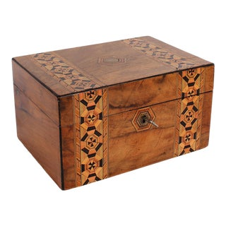 19th C. English Box With Exquisite Marquetry For Sale