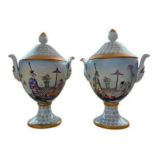 Chelsea House Chinoiserie Hand Painted Lidded Urns - a Pair For Sale