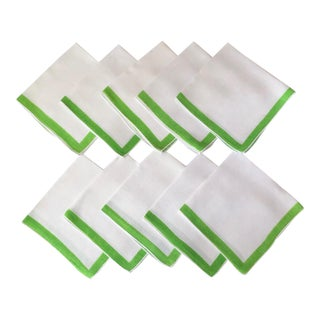 Vintage Linen Napkins With Lime Green Border - Set of 10 For Sale