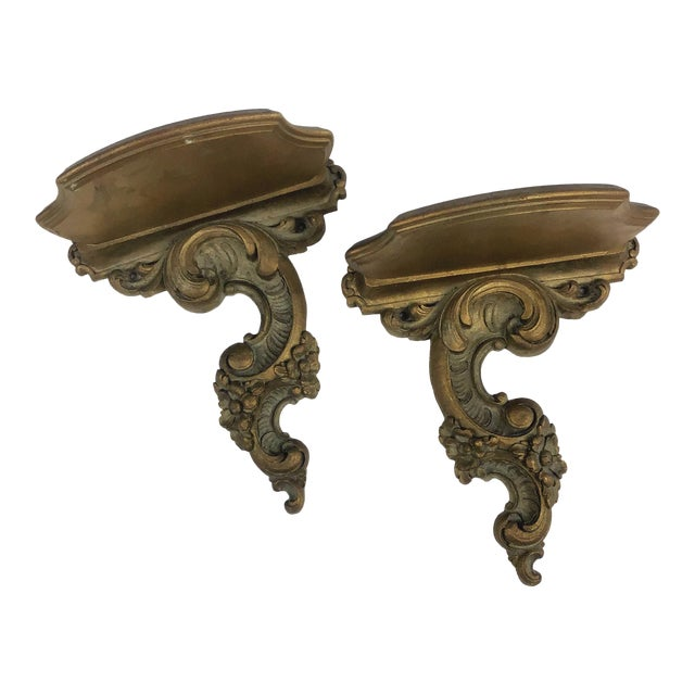 Syroco Wood Neoclassical Italian Style Carved Wall Sconce Shelves - a Pair For Sale