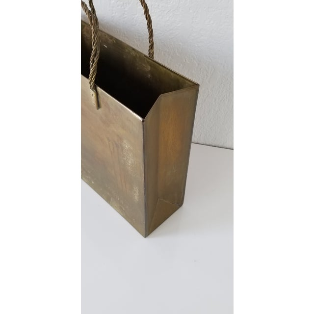 Vintage Brass Shopping Bag Magazine Holder For Sale In Miami - Image 6 of 8