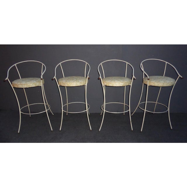 Vintage Mid-Century Modern White Wrought Iron Bar Stools- Set of 4 - Image 4 of 11