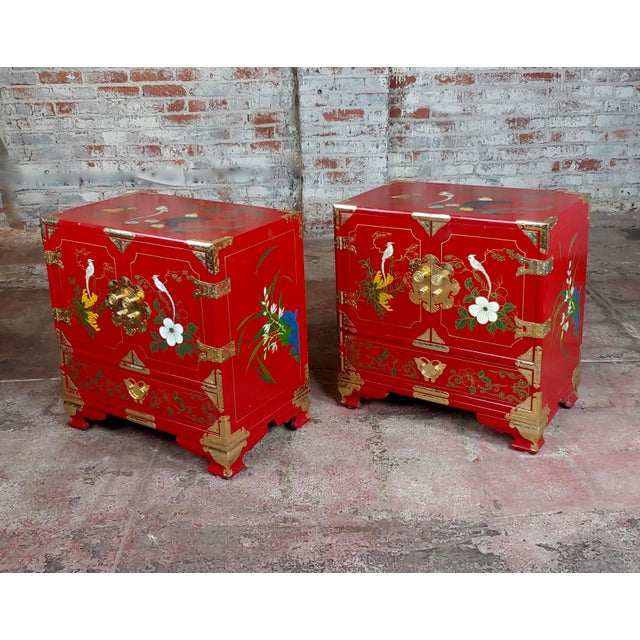 Chinese Beautiful Red Lacquered Commodes -A Pair For Sale - Image 11 of 11