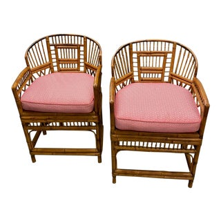 1970s Vintage Bamboo & Cane Chairs With Cushions- a Pair For Sale