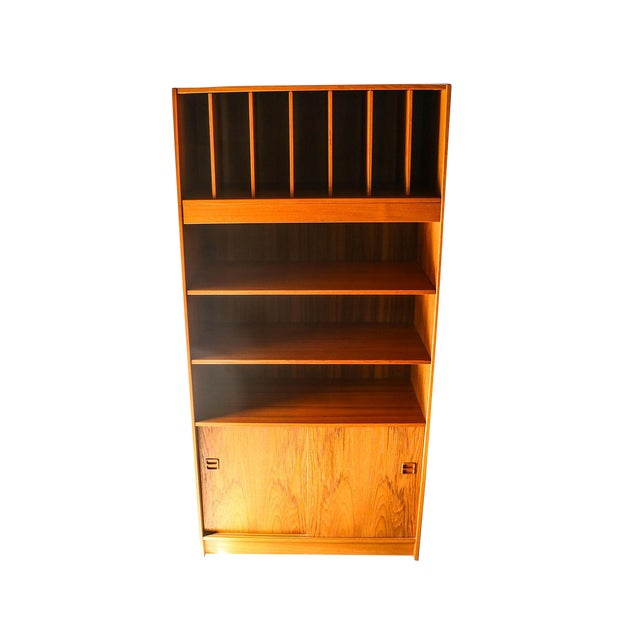 Mid Century Danish Tall Teak Vinyl Storage Cabinet For Sale